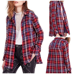 Free People Embroidered Plaid Button Down XS